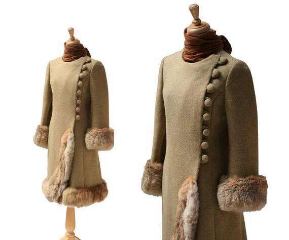 Vintage Olive Green Wool & Rabbit Fur Coat
