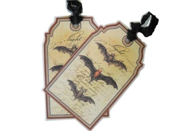 Halloween Bat Tags, Primitive Halloween Night, All Hallows Eve, Spooky Halloween Gift Tag