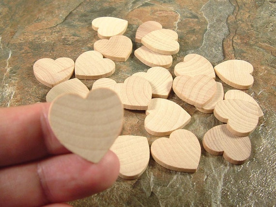 25 Wood Hearts, Shapes - 1 inch x 1/8 inch Unfinished Wooden Hearts for DIY