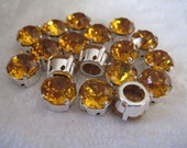 Lot of 4 11mm or 48SS Topaz Art.1200 Swarovski Rhinestones in Silver Plated Sew on Settings