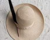 "SALE // vintage 1970s wide brimmed straw hat with cattail ""feather"""