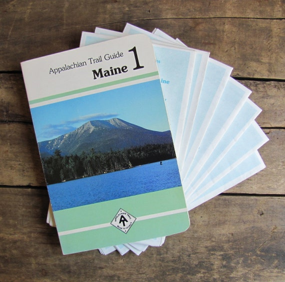 "vintage 1980s ""Appalachian Trail Guide: Maine"" book with maps"