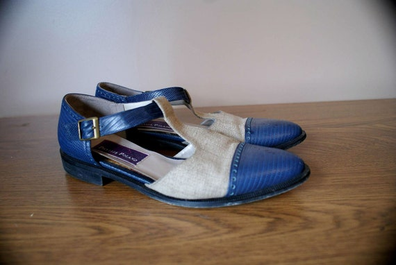 Linen and Blue Leather Spectator Oxfords 7 1/2