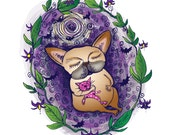 Purple and Yellow Nightshade and Bats with Sleeping Fawn French Bull Dog Single Sided Greeting Card