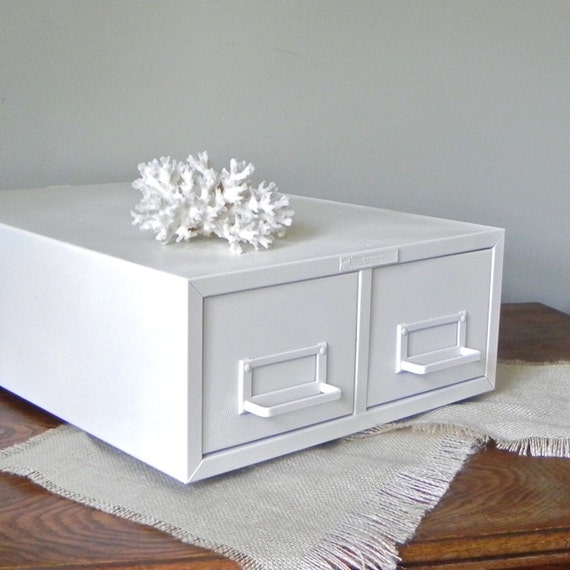 Card catalog cabinet white metal - perfect for escort cards - wedding decor - LAST ONE