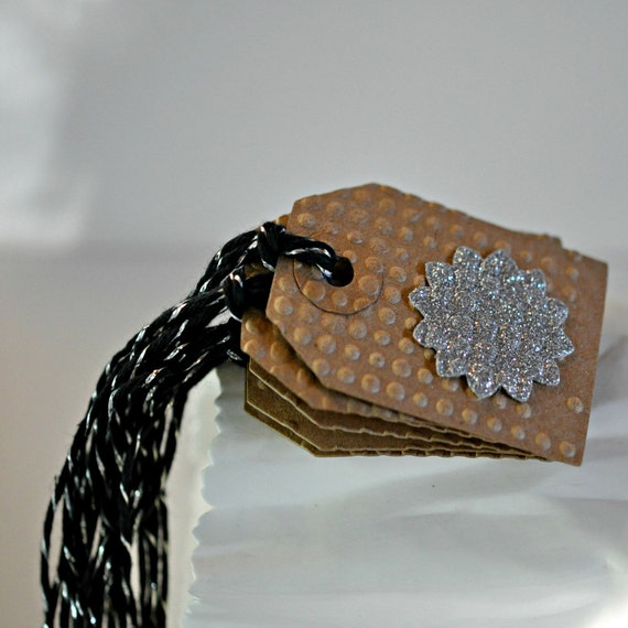 SALE 4 Embossed Glitter Silver Kraft  Tags Black Threaded