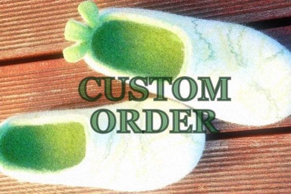 CUSTOM ORDER For Lisa- Men felted slippers in blue, size 46