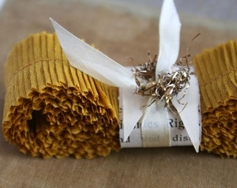 Vintage Crepe Paper Ruffles -  Mustard Gold Handmade Dennison Trim - Wedding Party Decor - Christmas Holiday Gold Vintage Ruffle Trim