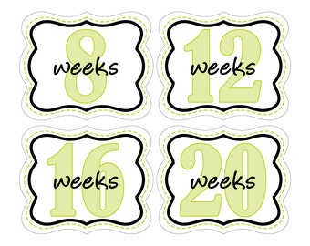 12 Weekly Pregnancy Mama-to-be Maternity Waterproof Glossy Die-cut Stickers  - Monthly stickers available - Design W008-02