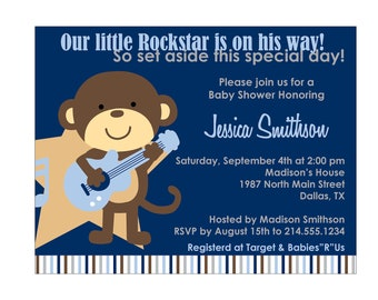 70 Rockstar Monkey Baby Shower Invitation or Birthday Invitation Cards (Printable file available)