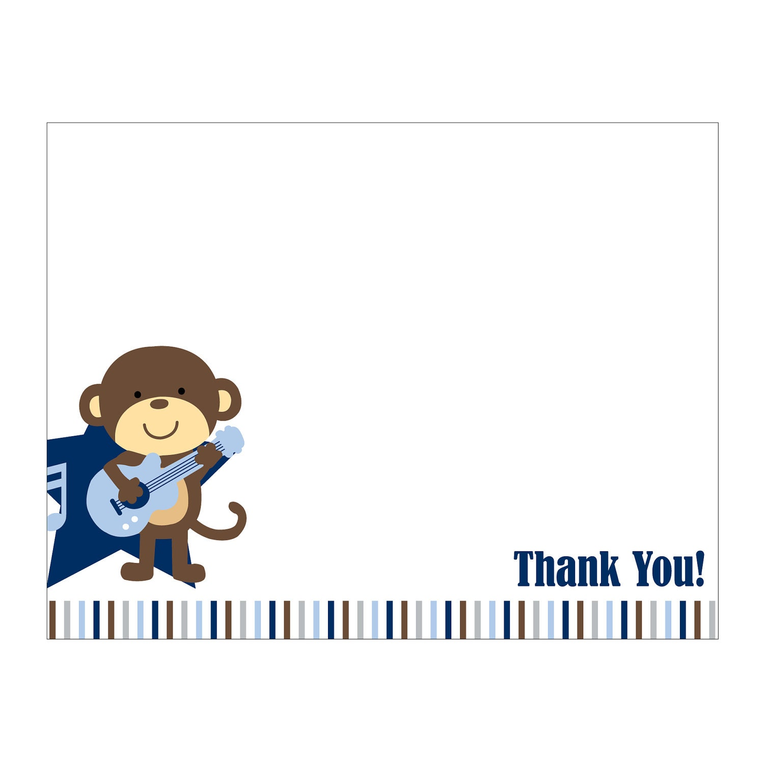 50 Rockstar Monkey Thank You Cards or Baby Shower Invitation