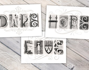 LIVE, HOPE, DARE - Inspirational Wall Art, 5x7 Black and White Alphabet Letters Photos (Unframed), Set of 3 Prints
