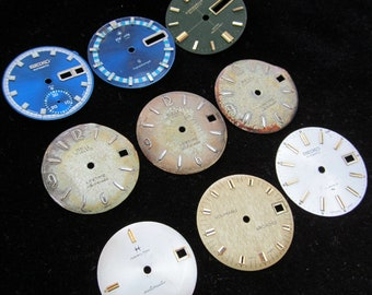 Vintage Antique Watch Dials Steampunk  Faces Parts Assemblage Mixed Media F 59