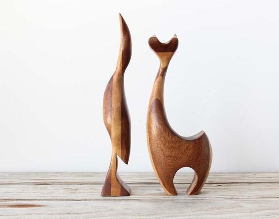 Modern Teak Carved Wood Deer Figure
