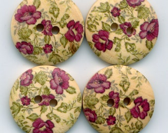 Flower Buttons Decorated Wooden Buttons 23mm (1 inch) Set of 4 /BT24