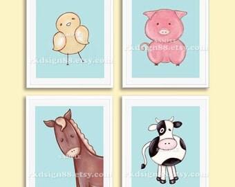Baby boy nursery art print, whimsical nursery decor, baby art print, children decor, chick pig cow horse Set, 4 prints