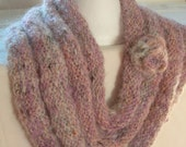 Hand knitted Cowl shoulder shawl - pink lilac mohair