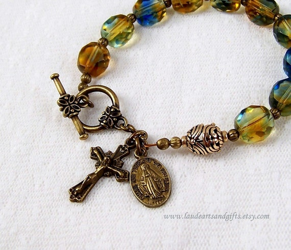 Rosary Bracelet Chaplet Prayer Beads Green Blue Topaz Adjustable