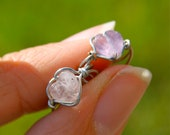 Heart Ear Cuffs Best Friends Set of Two Wire Wrapped Ear Cuffs Pink and Purple