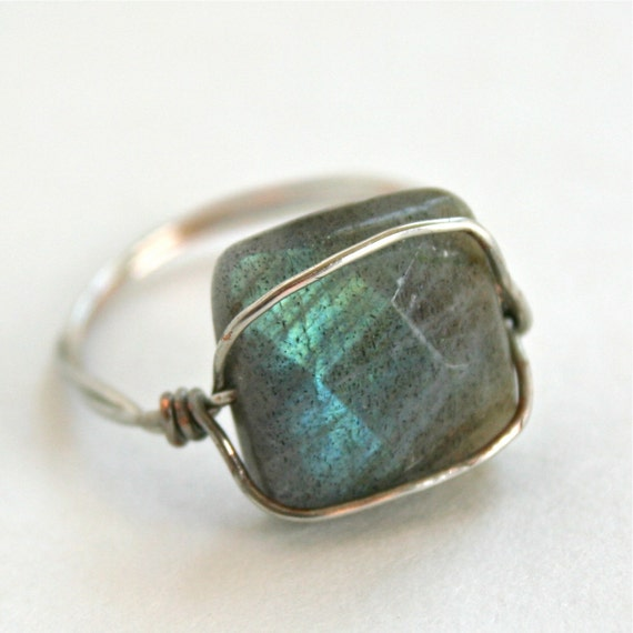 Labradorite Ring Silver Tone Wire Wrapped RIng Custom Size