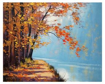 lake Oil Painting autumn fine art traditional landscape Graham gercken