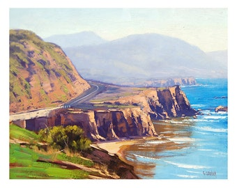 CALIFORNIA SEASCAPE Big Sur Painting by G. Gercken