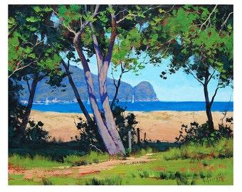 BEACH OIL PAINTING summer australian coast seascape  by Graham Gercken