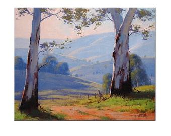 GUM TREES PAINTING Australian artwork Tree landscape Kangaroo by G.Gercken