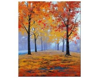 AUTUMN OIL PAINTING fall trees impressionism Misty Road Art Deco