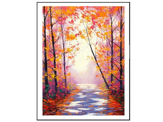 AUTUMN OIL PAINTING Red fall trees impressionism