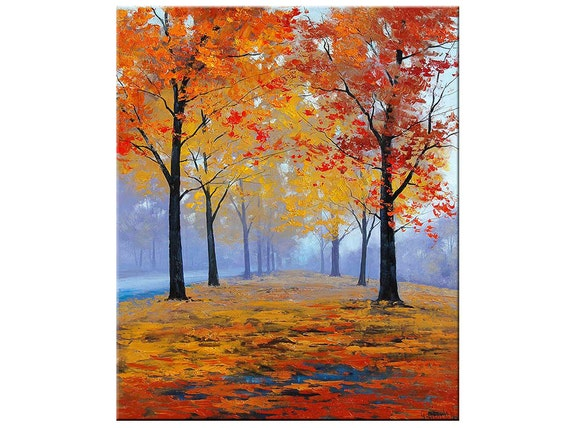 autumn oil painting fall trees impressionism misty road art