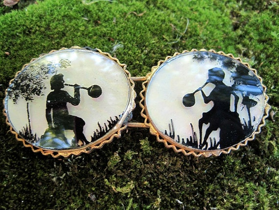 RESERVED Stunning Buckle Silhouettes over Mother of Pearl