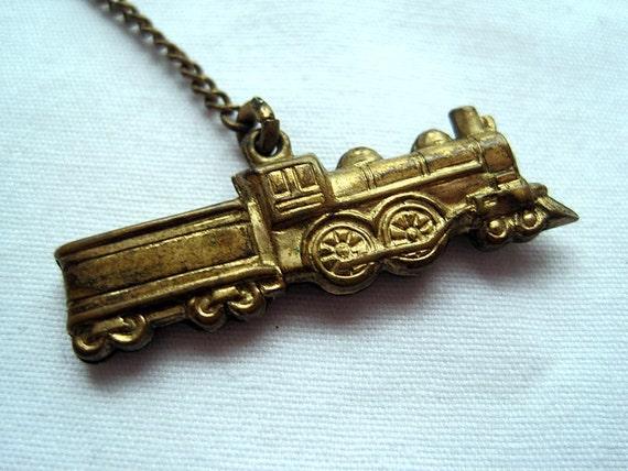 Vintage Watch Fob - Victorian Gold Wash - Train