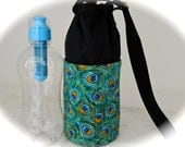 Peacock Feathers Insulated Water Bottle Carrier, Small for Hot or Cold Use