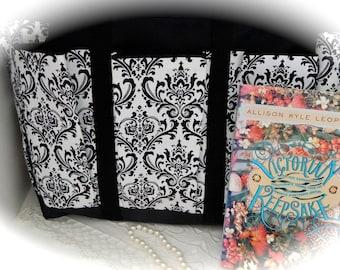 Black and White Damask Travel, Garden, Craft, Diaper, Knitting Tote Bag