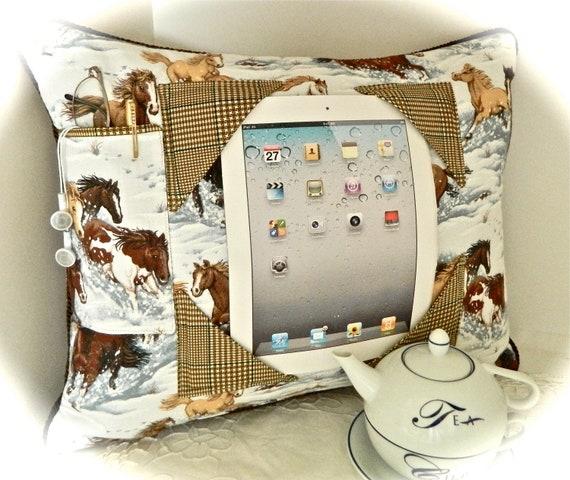 iPad Pillow - Wild Horses on a Snowy Plain