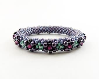Bead Crochet Blossom Bangle - Lilac, Bellflower, Peacock & Fuschia - Item 1215