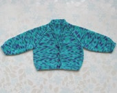 PREMATURE / SMALL NEWBORN Baby - sweater / cardigan - 5 to 11 lbs (up to around age 2 months) - teal, purple, blue cotton mix yarn