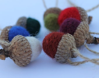 Wool Needle Felted Acorn Ornaments Multi Colored