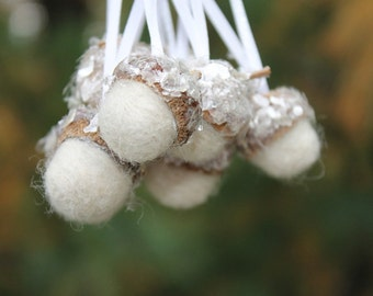 Christmas Ornaments Winter White Felted Acorns with Mica Flakes Tree Decorations Package Tie Ons Set of 8