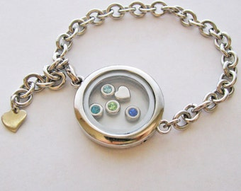 glass locket bracelet - fill with your choice of charms