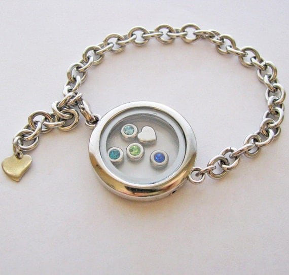 glass locket bracelet fill with your choice of charms