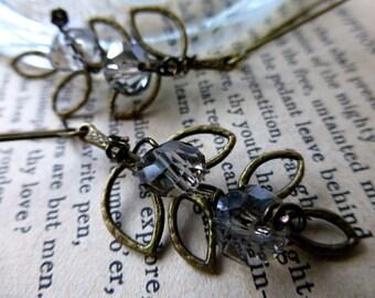 Sparkles Glam Leaf Earrings - Long Dangle Earrings - Bridal Wedding Nature Jewelry