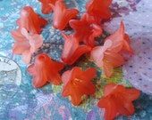 18x12mm Frosted Matte Lucite Five Petal Trumpet Type Flowers In Shades Of Brick Red (12 pieces)