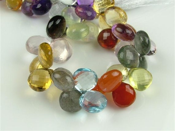 Multi Gemstone Heart Briolettes, AA-AAA, Faceted, 8-8.75mm (ET126)