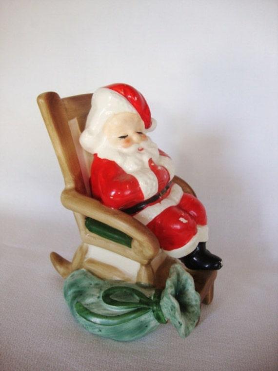 Vintage Santa Claus Figurine In Rocking Chair Josef Originals