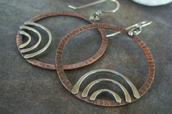 Sale-Copper-Sterling-Rustic- Dangle Hoop-Earrings-Sale-Free Shipping.