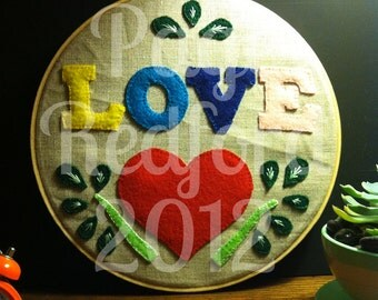 Love Embroidery // colorful wall art // house warming gift // hex sign