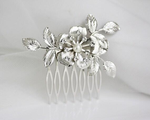 Small Bridal Hair Comb Wedding Hair Comb Vintage Floral Leaf Leaves Wedding Hair Accessories, LISSE