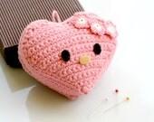 Crocheted Pink Heart Pincushion. Mini. Plush.